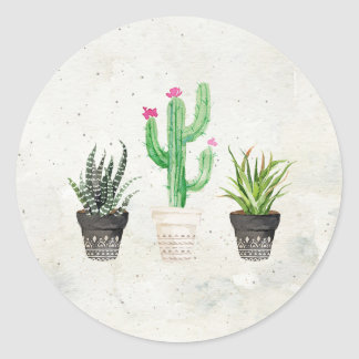 Desert Succulent Cactus Favor Stickers - Stone