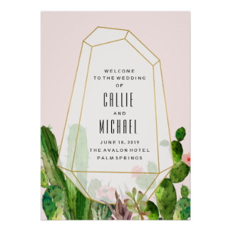 Desert Succulent Custom Wedding Poster