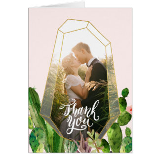 Desert Succulent Thank You Note - Pink Card