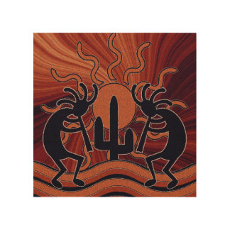 Desert Sun Cactus Kokopelli Southwest Wood Print