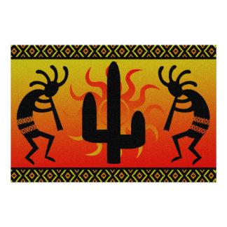 Desert Sun Cactus Kokopelli Southwestern Perfect Poster