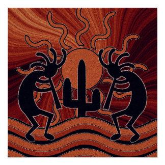 Desert Sun Cactus Kokopelli Southwestern Poster