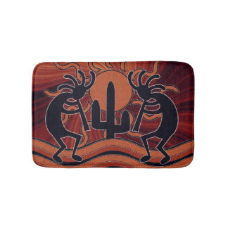 Desert Sun Cactus Southwest Design Kokopelli Bathroom Mat