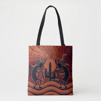 Desert Sun Cactus Southwest Design Kokopelli Tote Bag