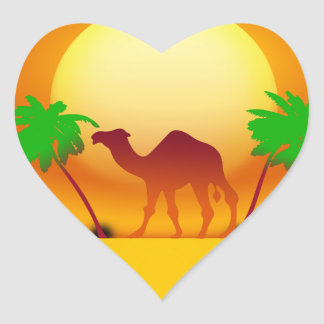 Desert Sunset Heart Sticker