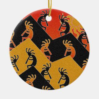Desert Sunset Kokopelli Southwest Round Ceramic Ornament