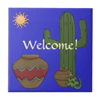 Desert Welcome Greeting - Southwest Snake Humor Tile