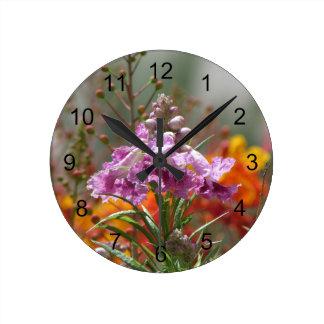 Desert Willow Bloom Round Clock