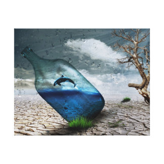 Desert with whale in the bottle canvas print