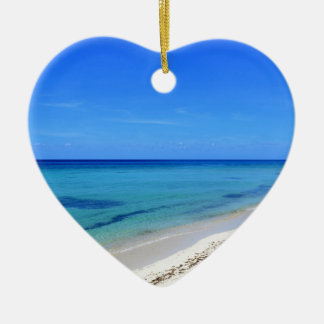 Deserted Cosumel Beach Calm Teal Water White Sand Ceramic Heart Ornament