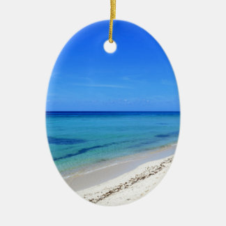 Deserted Cosumel Beach Calm Teal Water White Sand Ceramic Oval Ornament