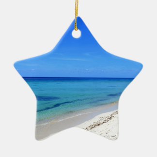 Deserted Cosumel Beach Calm Teal Water White Sand Ceramic Star Ornament