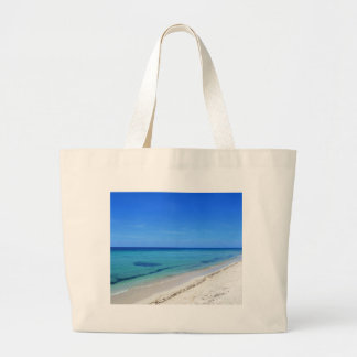 Deserted Cosumel Beach Calm Teal Water White Sand Large Tote Bag