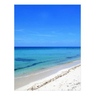 Deserted Cosumel Beach Calm Teal Water White Sand Letterhead Template