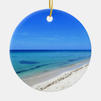 Deserted Cosumel Beach Calm Teal Water White Sand Round Ceramic Ornament