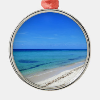 Deserted Cosumel Beach Calm Teal Water White Sand Silver-Colored Round Ornament