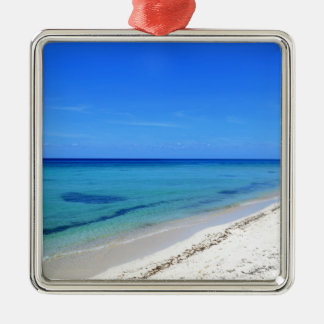 Deserted Cosumel Beach Calm Teal Water White Sand Silver-Colored Square Ornament