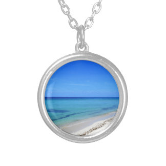 Deserted Cosumel Beach Calm Teal Water White Sand Silver Plated Necklace