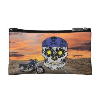 Deserted Highway Biker Candy Skull Makeup Bag