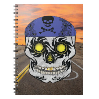 Deserted Highway Biker Candy Skull Notebook