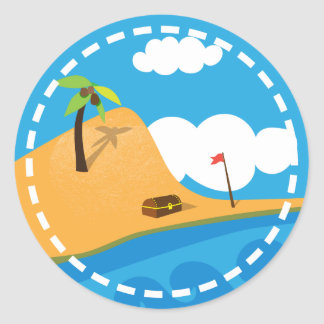 Deserted Island Treasure Pirate Birthday Stickers