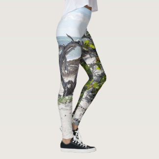 Deserted paradise summer beach leggings