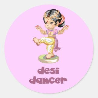 Desi Dancer Purple Round Stickers