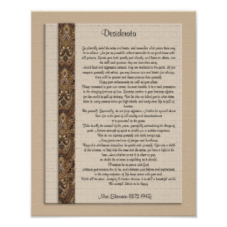 "Desiderata ""desired things) Brown design Poster"
