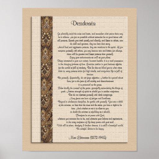 "Desiderata ""desired things) Brown design Print"