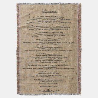 "Desiderata ""Desired Things"" on Faux Linen Burlap Throw Blanket"