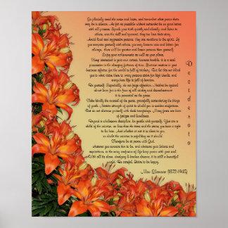 "Desiderata ""desired things"", prose asian lilies poster"
