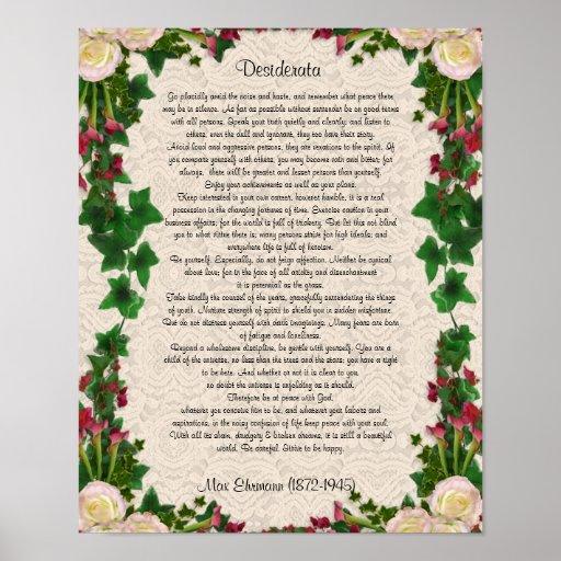 "Desiderata ""desired things"", prose exotic flowers print"