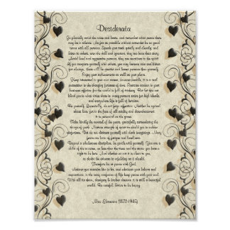 "Desiderata ""desired things"", prose on parchment poster"