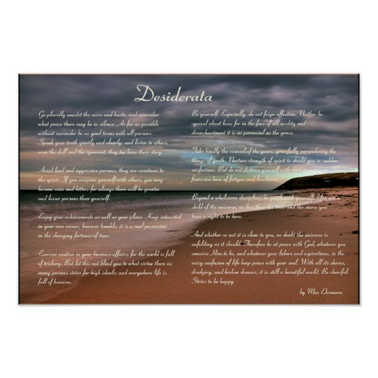 Desiderata  Inspirational Poem and Seashore Poster