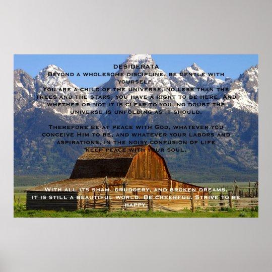 DESIDERATA Mountain Cabin Posters