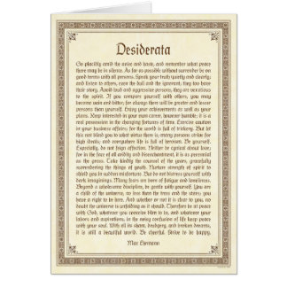 Desiderata note card, medieval design card