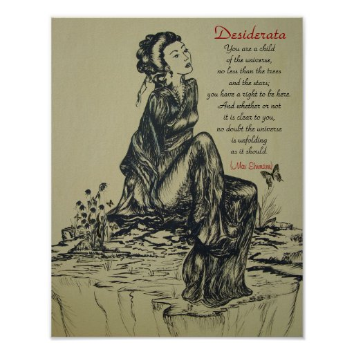 Desiderata on pen and ink drawing , Asian art Print