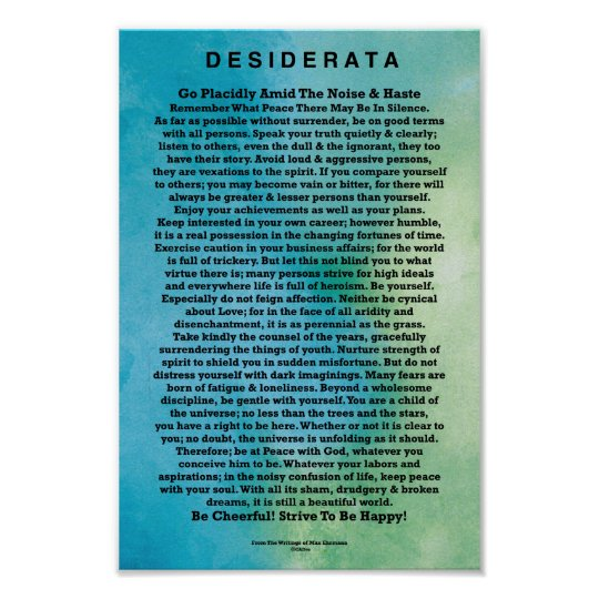 Desiderata Poem by Max Ehrmann Abstract Watercolor Poster