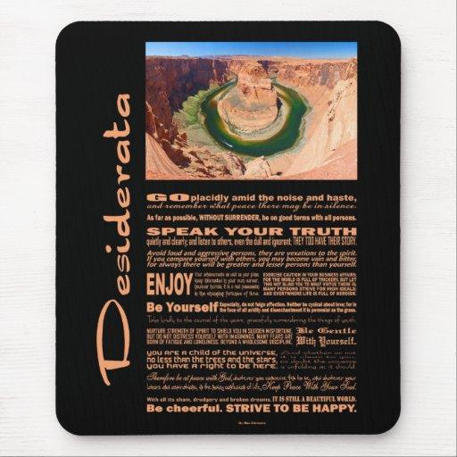 Desiderata Poem Grand Canyon Horse Shoe Bend Mousepads