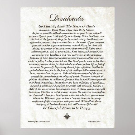 DESIDERATA Poem=Max Ehrmann=Parchment Collection Poster   Zazzle