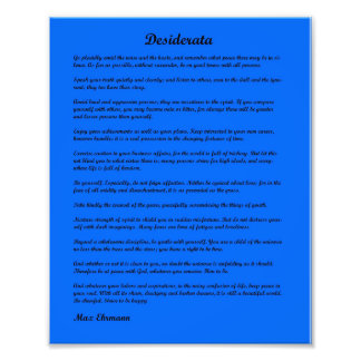 Desiderata poem on a blue background photograph