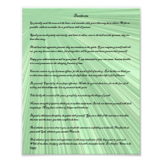 Desiderata poem on a green light ray background photographic print