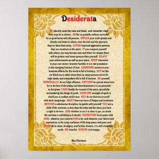 Desiderata Poem On Vintage Paper Poster