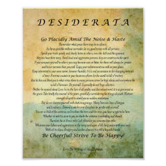 Desiderata Poem on Watercolor Forest Poster