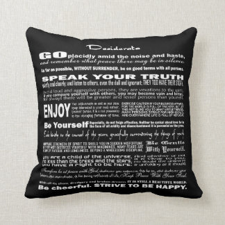 Desiderata Poem Poetry Poesy Verse Writing (Black) Throw Pillow