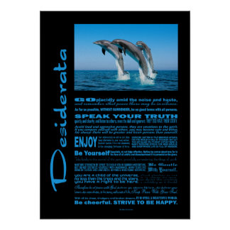 Desiderata Poem Up Up Up Dolphins Poster