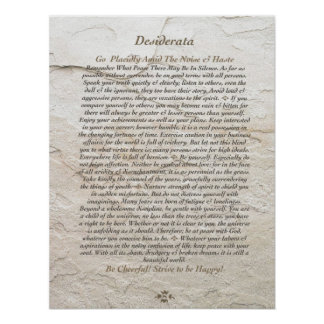 DESIDERATA Poster by Max Ehrmann=Moonstone