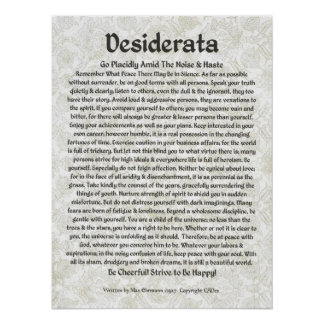 DESIDERATA Poster Max Ehrmann-Medieval Calligraphy