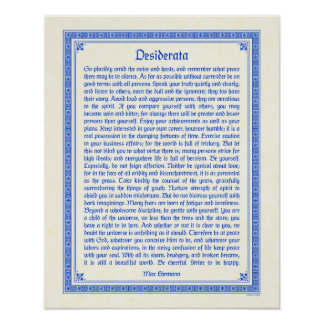 Desiderata poster print, medieval design, 16x20