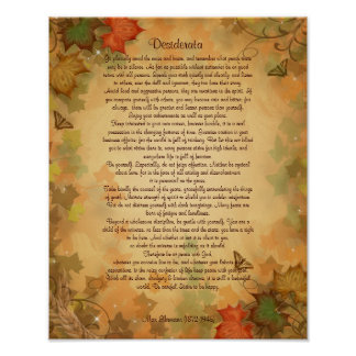 Desiderata prose on Fall colors background Poster